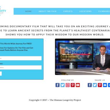 Website Design, Dev, Hosting & Tech Support for https://humanlongevityfilm.com/